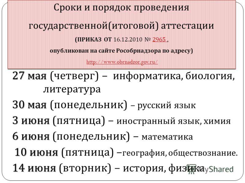 Сроки и порядок проведения государственной ( итоговой ) аттестации ( ПРИКАЗ ОТ 16.12.2010 2965, опубликован на сайте Рособрнадзора по адресу ) http://www.obrnadzor.gov.ru/2965 http://www.obrnadzor.gov.ru/ Сроки и порядок проведения государственной (