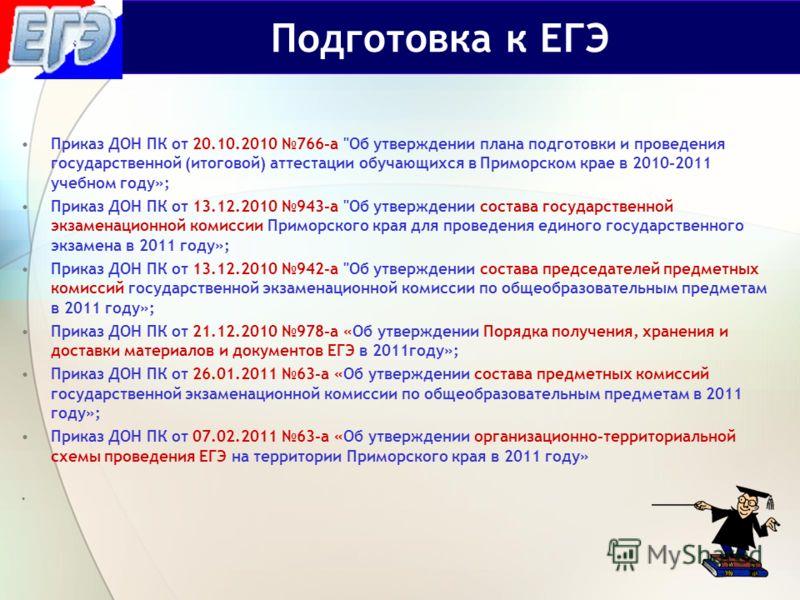 Приказ ДОН ПК от 20.10.2010 766-а