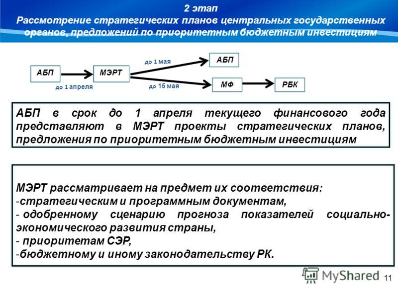 ІІ этап МЭРТ рассматривает на предмет их соответствия: -стратегическим и программным документам, - одобренному сценарию прогноза показателей социально- экономического развития страны, - приоритетам СЭР, -бюджетному и иному законодательству РК. 2 этап
