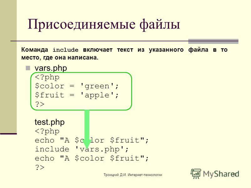 Троицкий Д.И. Интернет-технологии10 Присоединяемые файлы vars.php test.php Команда include включает текст из указанного файла в то место, где она написана.