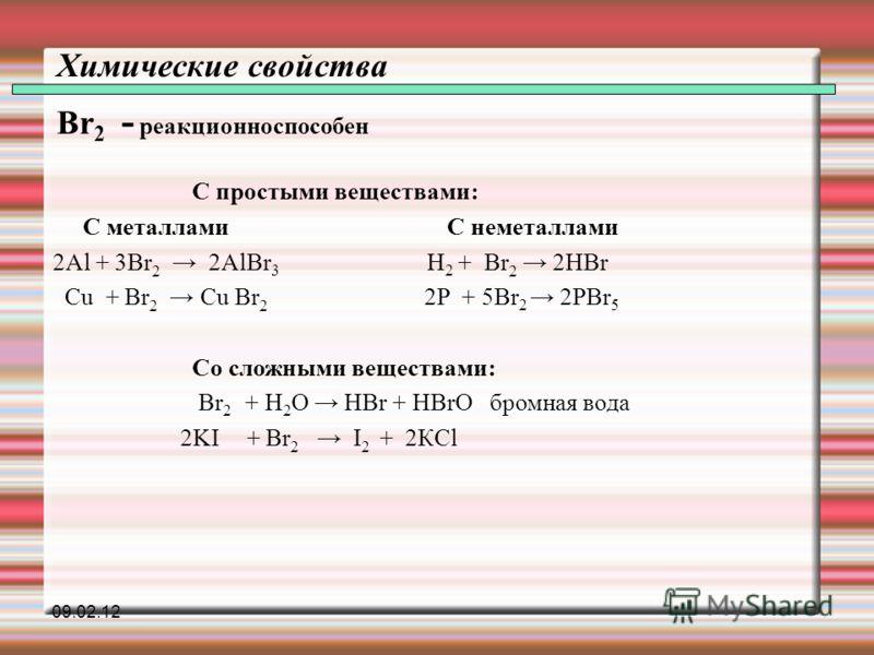 Химические свойства Br 2 - реакционноспособен С простыми веществами: С металлами С неметаллами 2Al + 3Br 2 2AlBr 3 H 2 + Br 2 2HВr Cu + Br 2 Cu Br 2 2P + 5Br 2 2PBr 5 Со сложными веществами: Br 2 + H 2 O HBr + HBrO бромная вода 2KI + Br 2 I 2 + 2КCl