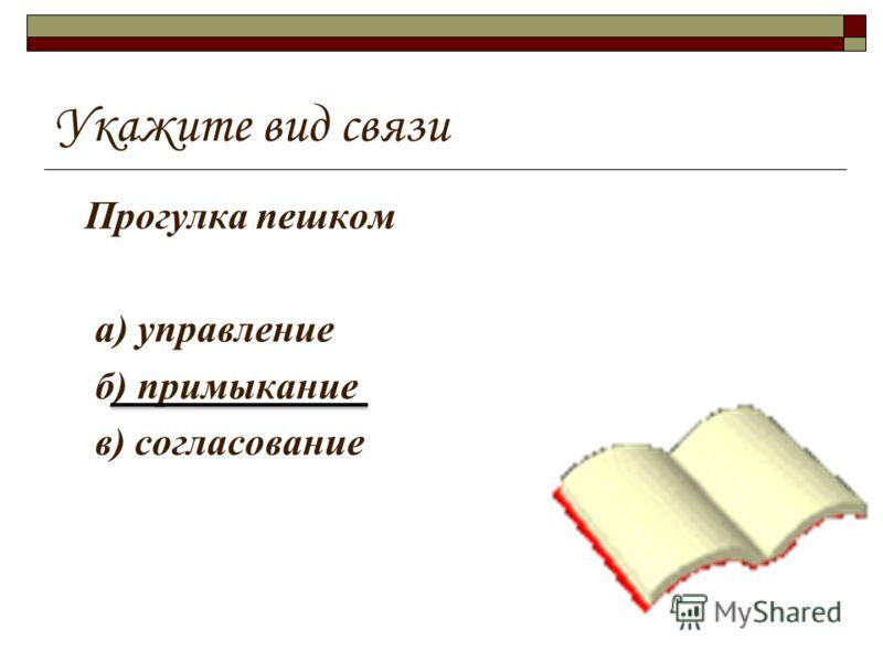 Укажите вид связи Прогулка пешком а) управление б) примыкание в) согласование