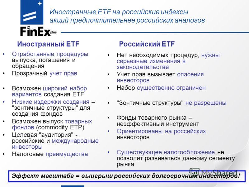 Иностранные ETF на российские индексы акций предпочтительнее российских аналогов Отработанные процедуры выпуска, погашения и обращения Прозрачный учет прав Возможен широкий набор вариантов создания ETF Низкие издержки создания –