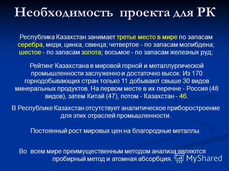 Необходимость проекта для РК Республика Казахстан занимает третье место в мире по запасам серебра, меди, цинка, свинца; четвертое - по запасам молибдена; шестое - по запасам золота; восьмое - по запасам железных руд; Рейтинг Казахстана в мировой горн