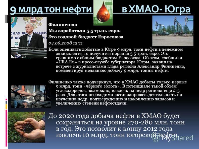 Филипенко: Мы заработали 5,5 трлн. евро. Это годовой бюджет Евросоюза 04.06.2008 12:11 Если оценивать добытые в Югре 9 млрд. тонн нефти в денежном эквиваленте, то получится порядка 5,5 трлн. евро. Это сравнимо с общим бюджетом Евросоюза. Об этом, соо
