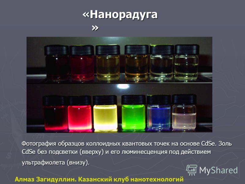 «Нанорадуга » Фотография образцов коллоидных квантовых точек на основе CdSe. Золь CdSe без подсветки (вверху) и его люминесценция под действием ультрафиолета (внизу). Алмаз Загидуллин. Казанский клуб нанотехнологий