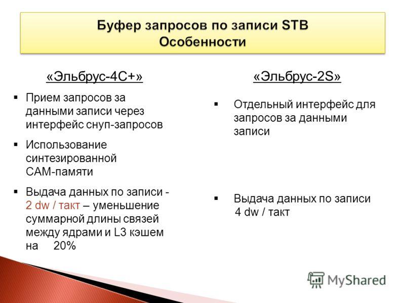 «Эльбрус-2S» Отдельный интерфейс для запросов за данными записи Выдача данных по записи 4 dw / такт «Эльбрус-4С+» Прием запросов за данными записи через интерфейс снуп-запросов Использование синтезированной CAM-памяти Выдача данных по записи - 2 dw /