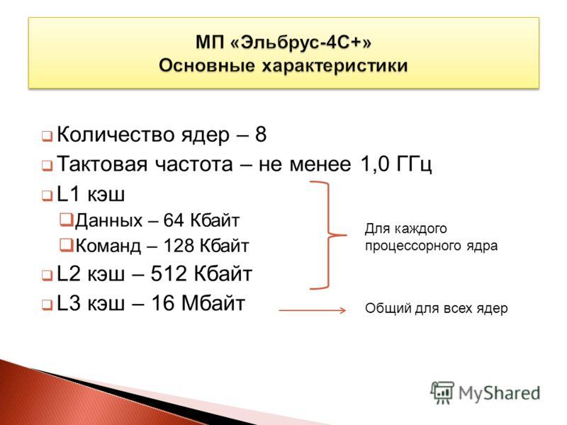 Количество ядер – 8 Тактовая частота – не менее 1,0 ГГц L1 кэш Данных – 64 Кбайт Команд – 128 Кбайт L2 кэш – 512 Кбайт L3 кэш – 16 Мбайт Для каждого процессорного ядра Общий для всех ядер
