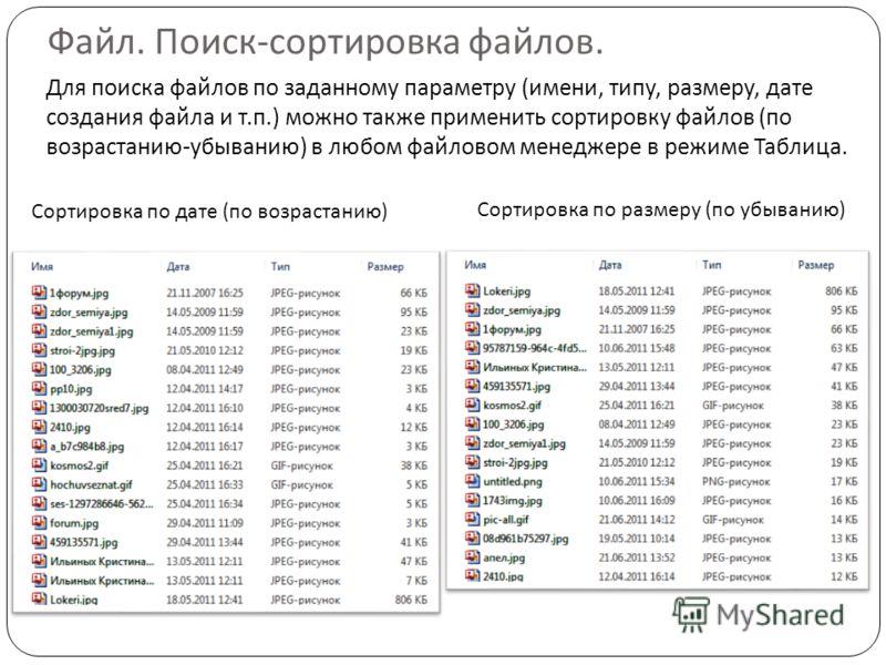 Файл. Поиск-сортировка файлов. Для поиска файлов по заданному параметру (имени, типу, размеру, дате создания файла и т.п.) можно также применить сортировку файлов (по возрастанию-убыванию) в любом файловом менеджере в режиме Таблица. Сортировка по да