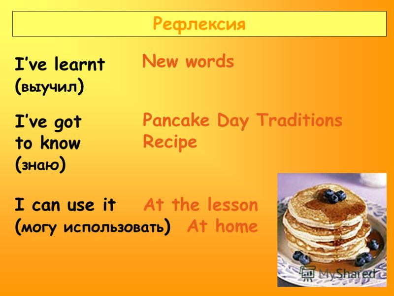 Рефлексия Ive learnt ( выучил ) Ive got to know ( знаю ) I can use it ( могу использовать ) Pancake Day Traditions Recipe New words At the lesson At home