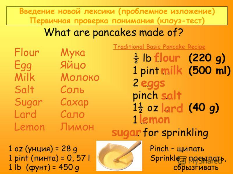 Введение новой лексики (проблемное изложение) Первичная проверка понимания (клоуз-тест) What are pancakes made of? Flour Egg Milk Salt Sugar Lard Lemon Мука Яйцо Молоко Соль Сахар Сало Лимон ½ lb … 1 pint … 2 … pinch … 1½ oz … 1 … … for sprinkling Tr