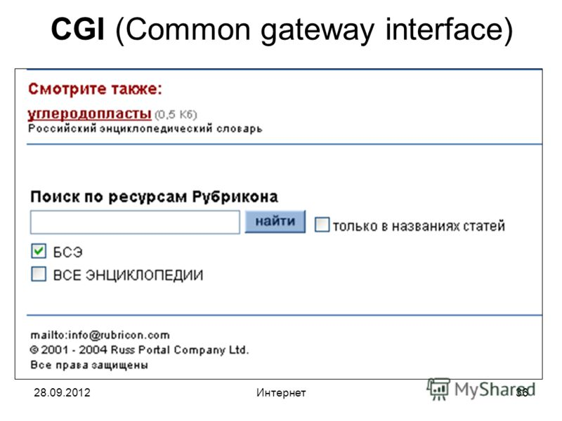 28.09.2012Интернет36 CGI (Common gateway interface)
