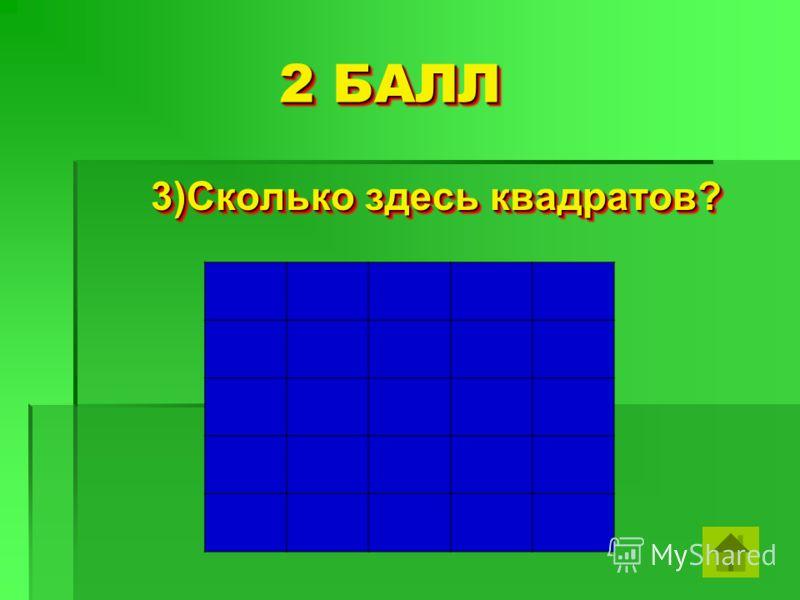 2 БАЛЛ 2 БАЛЛ 3)Сколько здесь квадратов? 3)Сколько здесь квадратов?