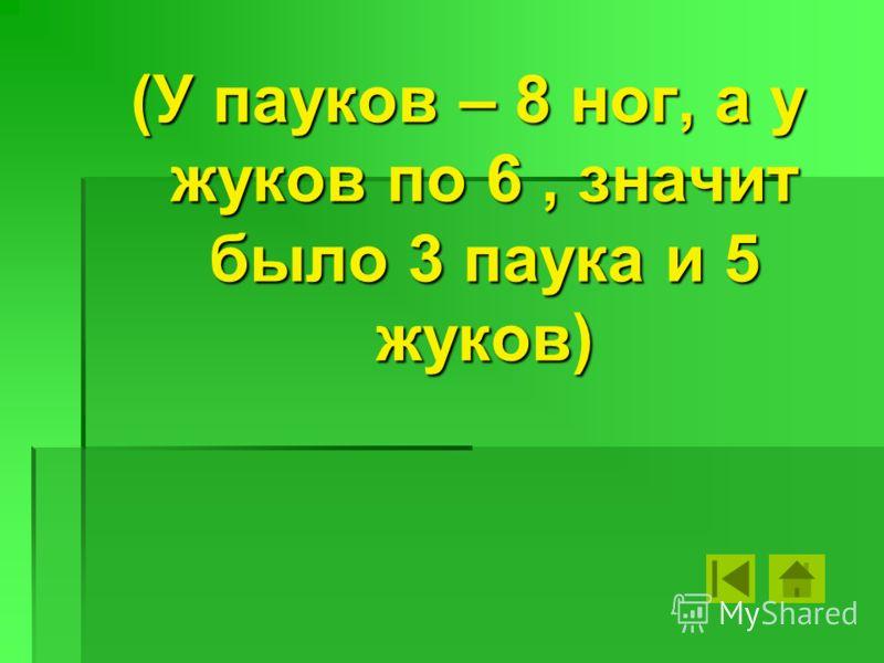 (У пауков – 8 ног, а у жуков по 6, значит было 3 паука и 5 жуков)