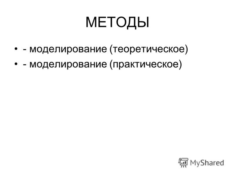 МЕТОДЫ - моделирование (теоретическое) - моделирование (практическое)