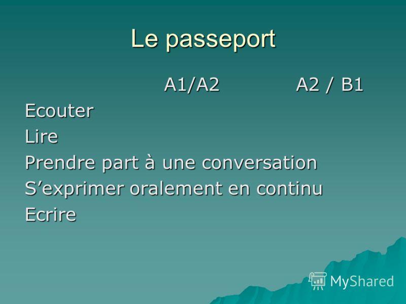Le passeport A1/А2 A2 / В1 A1/А2 A2 / В1EcouterLire Prendre part à une conversation Sexprimer oralement en continu Ecrire