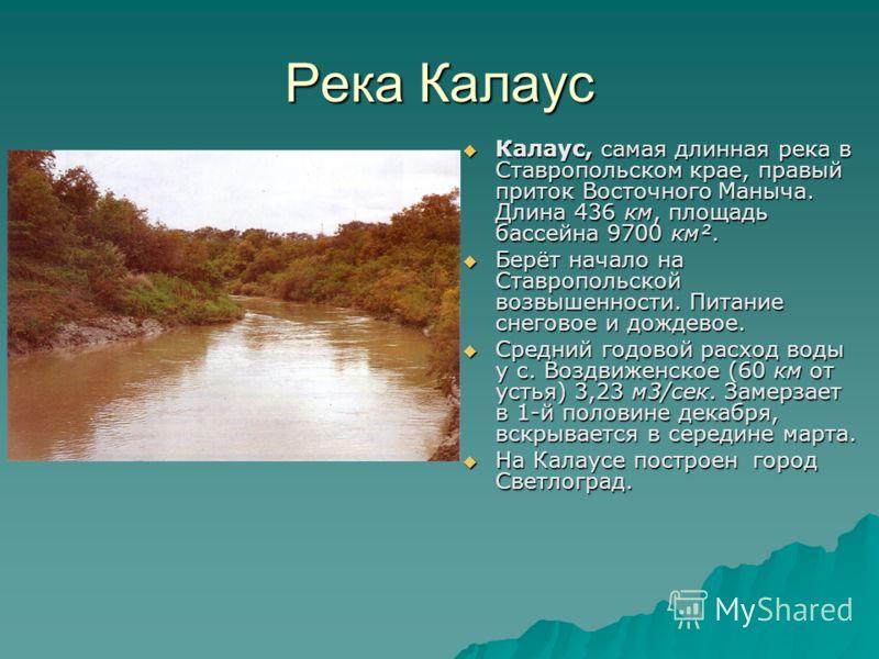 Река Калаус Калаус, самая длинная река в Ставропольском крае, правый приток Восточного Маныча. Длина 436 км, площадь бассейна 9700 км². Калаус, самая длинная река в Ставропольском крае, правый приток Восточного Маныча. Длина 436 км, площадь бассейна