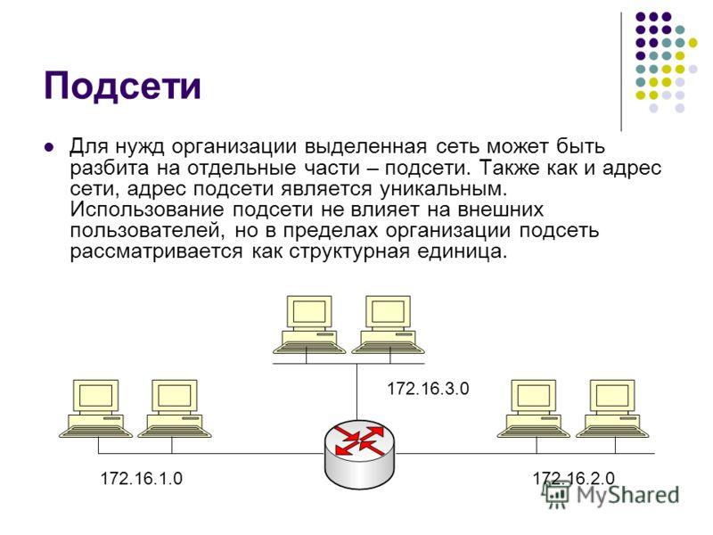 Подсети Для нужд организации выделенная сеть может быть разбита на отдельные части – подсети. Также как и адрес сети, адрес подсети является уникальным. Использование подсети не влияет на внешних пользователей, но в пределах организации подсеть рассм