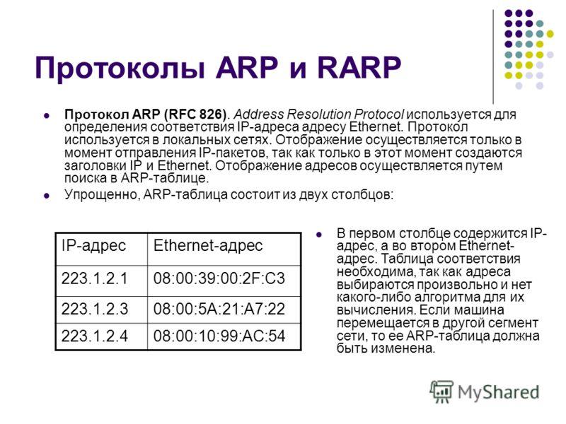 Протоколы ARP и RARP Протокол ARP (RFC 826). Address Resolution Protocol используется для определения соответствия IP-адреса адресу Ethernet. Протокол используется в локальных сетях. Отображение осуществляется только в момент отправления IP-пакетов,