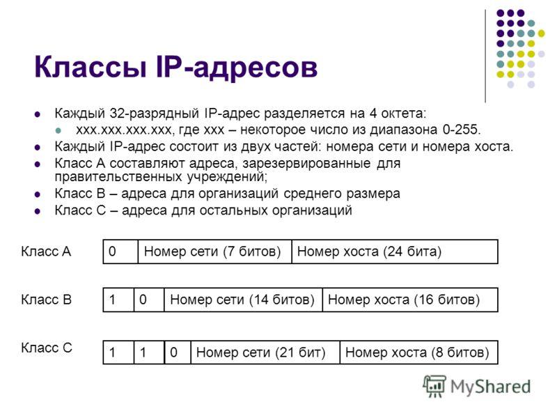 Классы IP-адресов Каждый 32-разрядный IP-адрес разделяется на 4 октета: xxx.xxx.xxx.xxx, где xxx – некоторое число из диапазона 0-255. Каждый IP-адрес состоит из двух частей: номера сети и номера хоста. Класс A составляют адреса, зарезервированные дл