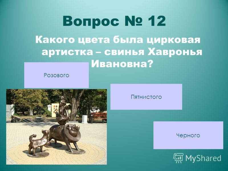 Вопрос 12 Какого цвета была цирковая артистка – свинья Хавронья Ивановна? Черного Пятнистого Розового