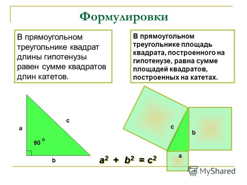 В прямоугольном треугольнике площадь квадрата, построенного на гипотенузе, равна сумме площадей квадратов, построенных на катетах. В прямоугольном треугольнике квадрат длины гипотенузы равен сумме квадратов длин катетов. Формулировки 90 o c a b c a b