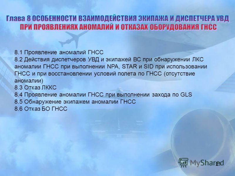 21 8.1 Проявление аномалий ГНСС 8.2 Действия диспетчеров УВД и экипажей ВС при обнаружении ЛКС аномалии ГНСС при выполнении NPA, STAR и SID при использовании ГНСС и при восстановлении условий полета по ГНСС (отсутствие аномалии) 8.3 Отказ ЛККС 8.4 Пр