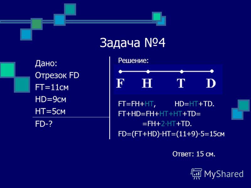 Задача 4 Решение: FT=FH+HT, HD=HT+TD. FT+HD=FH+HT+HT+TD= =FH+2HT+TD. FD=(FT+HD)-HT=(11+9)-5=15см Ответ: 15 см. Дано: Отрезок FD FT=11см HD=9см HT=5см FD-?