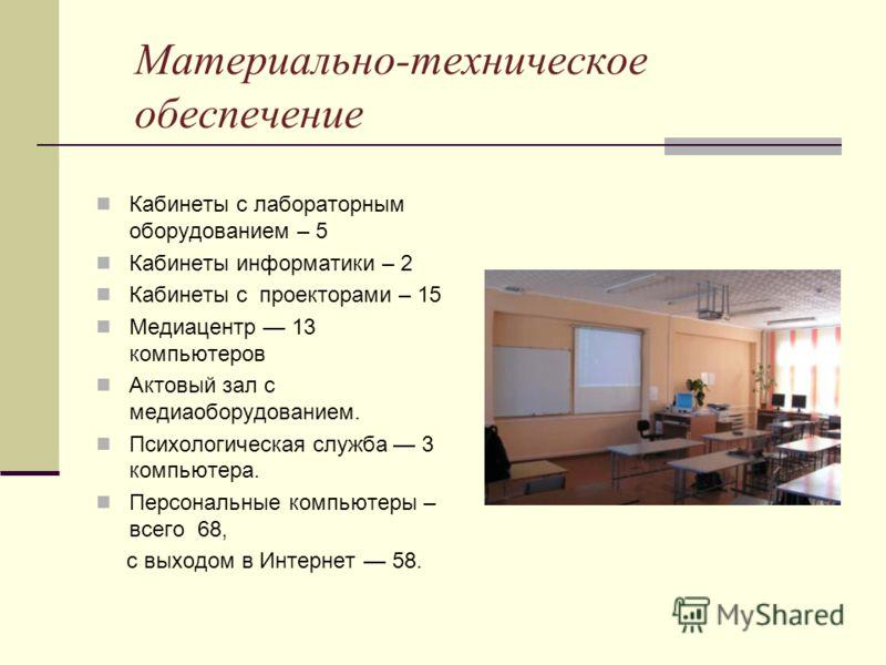 Материально-техническое обеспечение Кабинеты с лабораторным оборудованием – 5 Кабинеты информатики – 2 Кабинеты с проекторами – 15 Медиацентр 13 компьютеров Актовый зал с медиаоборудованием. Психологическая служба 3 компьютера. Персональные компьютер