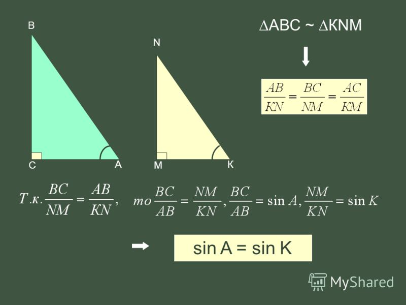В А С N К М АВС ~ КNM sin A = sin K