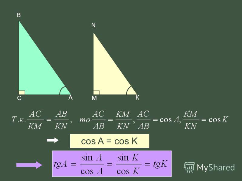 cos A = cos K В А С N К М