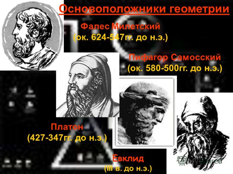Евклид (III в. до н.э.) Основоположники геометрии Фалес Милетский (ок. 624-547гг. до н.э.) Пифагор Самосский (ок. 580-500гг. до н.э.) Платон (427-347гг. до н.э.)