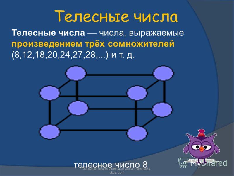 Телесные числа Телесные числа числа, выражаемые произведением трёх сомножителей (8,12,18,20,24,27,28,...) и т. д. телесное число 8 материал подготовлен для сайта matematika. ukoz. com
