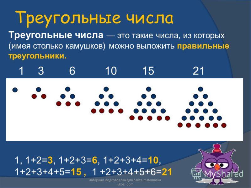 Треугольные числа Треугольные числа это такие числа, из которых (имея столько камушков) можно выложить правильные треугольники. 136101521 1, 1+2=3, 1+2+3=6, 1+2+3+4=10, 1+2+3+4+5=15, 1 +2+3+4+5+6=21 материал подготовлен для сайта matematika. ukoz. co