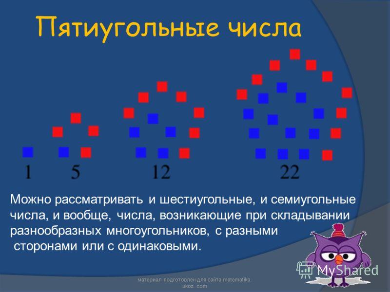 Пятиугольные числа Можно рассматривать и шестиугольные, и семиугольные числа, и вообще, числа, возникающие при складывании разнообразных многоугольников, с разными сторонами или с одинаковыми. материал подготовлен для сайта matematika. ukoz. com
