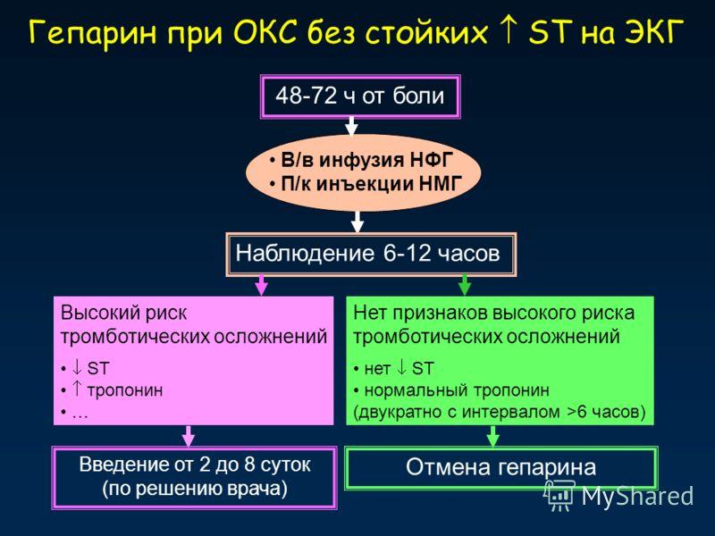 Гепарин при ОКС без стойких ST на ЭКГ 48-72 ч от боли В/в инфузия НФГ П/к инъекции НМГ Высокий риск тромботических осложнений ST тропонин … Нет признаков высокого риска тромботических осложнений нет ST нормальный тропонин (двукратно с интервалом >6 ч