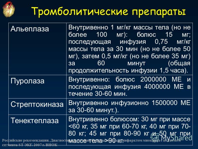 Тромболитические препараты Альеплаза Внутривенно 1 мг/кг массы тела (но не более 100 мг): болюс 15 мг; последующая инфузия 0,75 мг/кг массы тела за 30 мин (но не более 50 мг), затем 0,5 мг/кг (но не более 35 мг) за 60 минут (общая продолжительность и