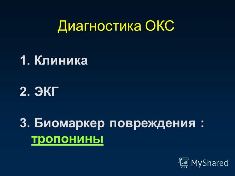 Диагностика ОКС 1. Клиника 2. ЭКГ 3. Биомаркер повреждения : тропонины