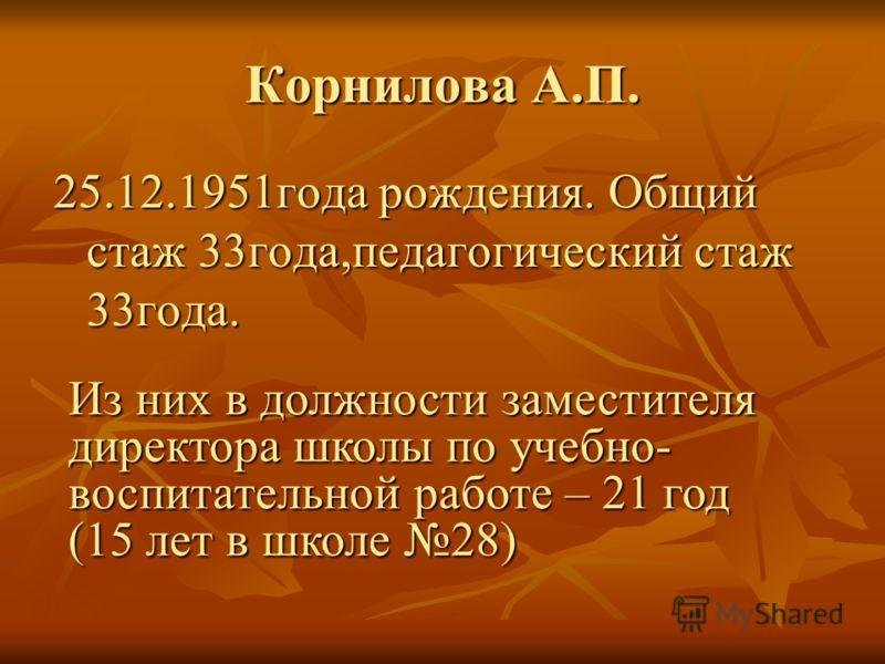 Корнилова А.П. 25.12.1951года рождения. Общий стаж 33года,педагогический стаж 33года. Из них в должности заместителя директора школы по учебно- воспитательной работе – 21 год (15 лет в школе 28)