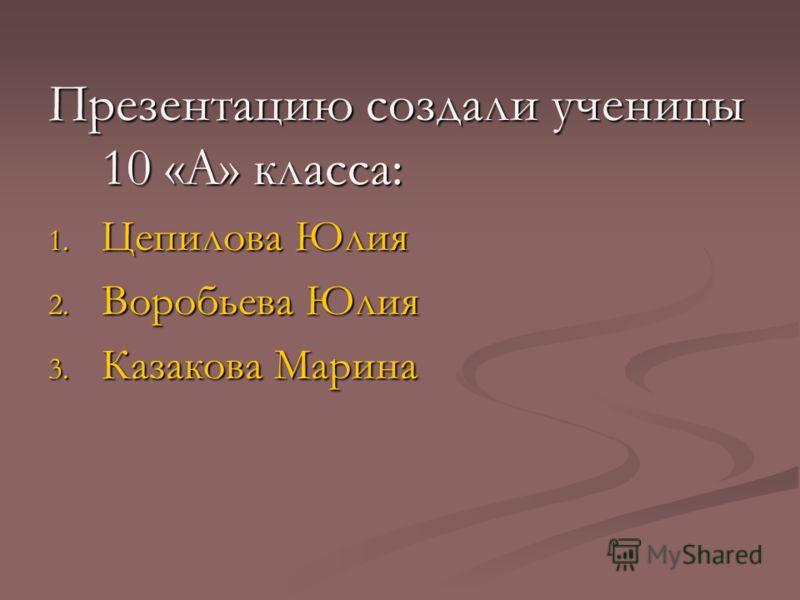Презентацию создали ученицы 10 «А» класса: 1. Цепилова Юлия 2. Воробьева Юлия 3. Казакова Марина
