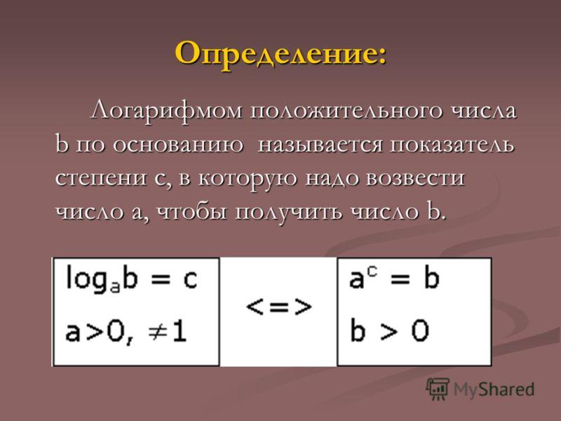 Определение: Логарифмом положительного числа b по основанию называется показатель степени с, в которую надо возвести число а, чтобы получить число b.