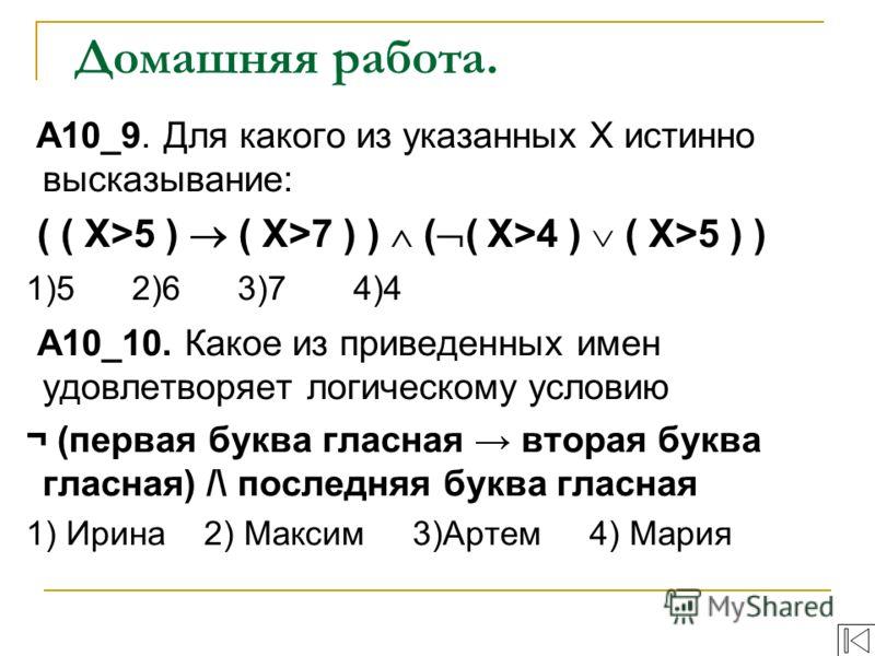 Домашняя работа. A10_9. Для какого из указанных Х истинно высказывание: ( ( Х>5 ) ( X>7 ) ) ( ( Х>4 ) ( X>5 ) ) 1)5 2)6 3)7 4)4 A10_10. Какое из приведенных имен удовлетворяет логическому условию ¬ (первая буква гласная вторая буква гласная) /\ после