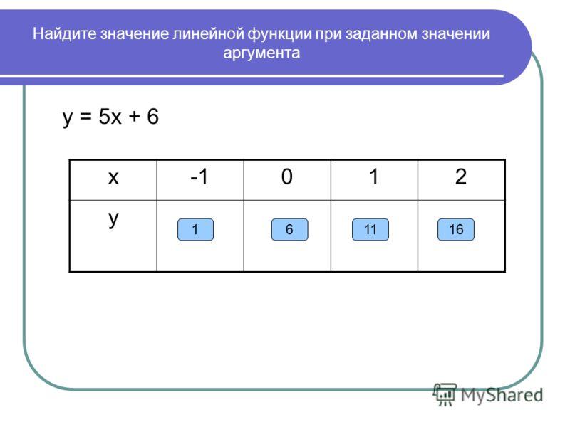 Найдите значение линейной функции при заданном значении аргумента у = 5х + 6 х012 у 161611
