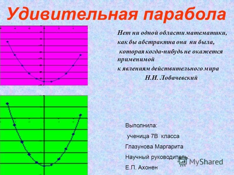 Удивительная парабола Нет ни одной области математики, как бы абстрактна она ни была, которая когда-нибудь не окажется применимой к явлениям действительного мира Н.И. Лобачевский В Выполнила: ученица 7В класса Глазунова Маргарита Научный руководитель