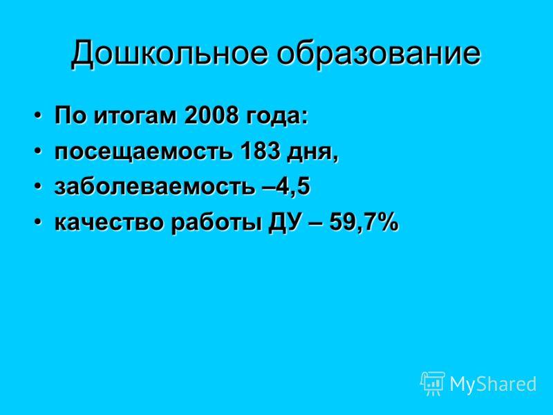 Дошкольное образование По итогам 2008 года:По итогам 2008 года: посещаемость 183 дня,посещаемость 183 дня, заболеваемость –4,5заболеваемость –4,5 качество работы ДУ – 59,7%качество работы ДУ – 59,7%