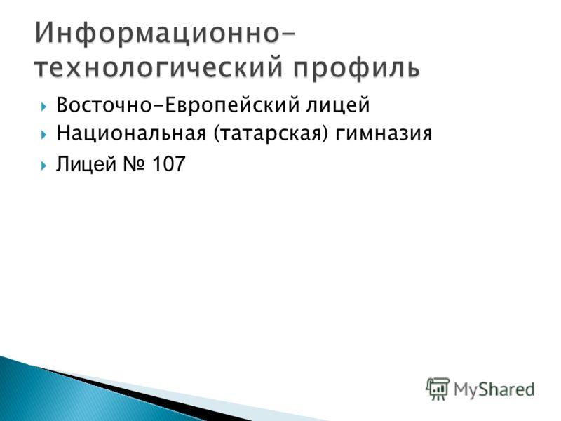 Восточно-Европейский лицей Национальная (татарская) гимназия Лицей 107