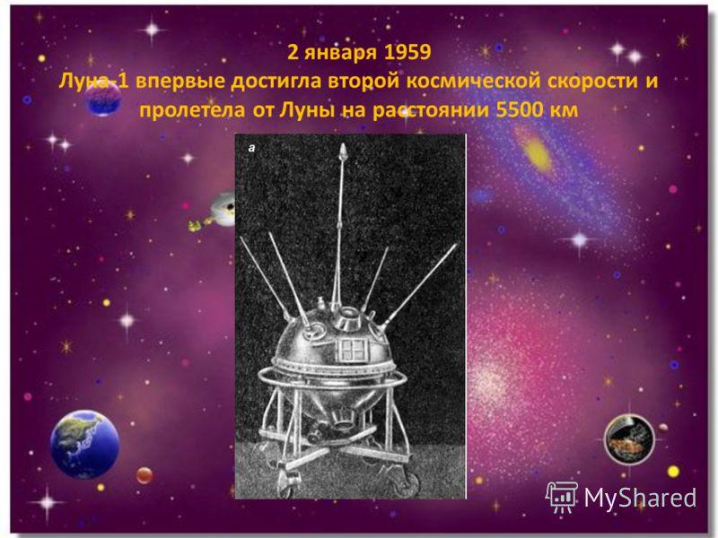 2 января 1959 Луна-1 впервые достигла второй космической скорости и пролетела от Луны на расстоянии 5500 км