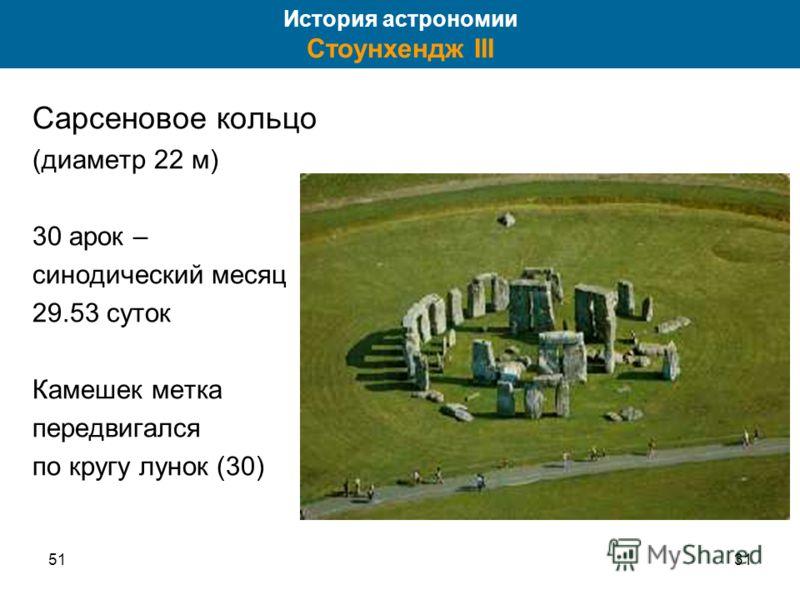 5131 Сарсеновое кольцо (диаметр 22 м) 30 арок – синодический месяц 29.53 суток Камешек метка передвигался по кругу лунок (30) История астрономии Стоунхендж III