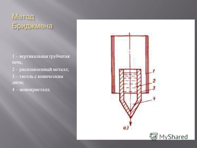 Метод Бриджмена 1 – вертикальная трубчатая печь ; 2 – расплавленный металл ; 3 – тигель с коническим дном ; 4 – монокристалл.