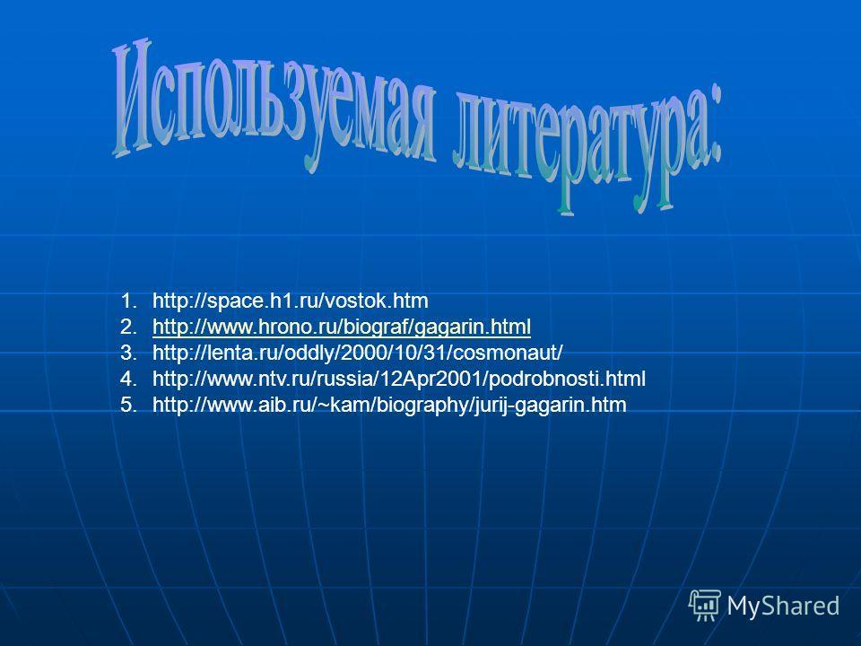 1.http://space.h1.ru/vostok.htm 2.http://www.hrono.ru/biograf/gagarin.htmlhttp://www.hrono.ru/biograf/gagarin.html 3.http://lenta.ru/oddly/2000/10/31/cosmonaut/ 4.http://www.ntv.ru/russia/12Apr2001/podrobnosti.html 5.http://www.aib.ru/~kam/biography/